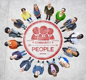 Multiethnic People Forming Circle and Community Concept