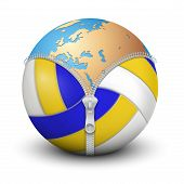 Planet Earth inside volleyball ball