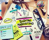 image of messy  - Office Desk with Tools and Notes About Digital Marketing - JPG