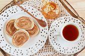 Brazilian Dessert Bolo De Rolo (swiss Roll, Rollcake) On Tray