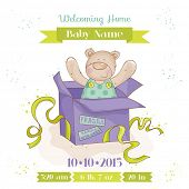 Baby Bear in a Box - Baby Shower or Arrival Card - in vector