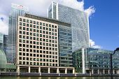 LONDON, CANARY WHARF UK - June 26, 2014: - Modern glass architecture London