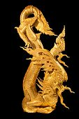 Golden Legent Gradon Snake Figure Thai Style In Black Isolate Background