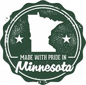 Made in Minnesota Vintage Style State Stamp