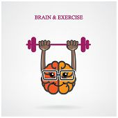 pic of jerk  - Creative left and right brain sign with the barbell on background - JPG