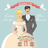 Cute Cartoon Bride Groom. Retro Wedding Invitation