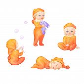 Set Of Babies On A White Background