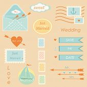 postal wedding set vector elements vector