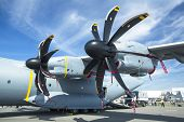 BERLIN, GERMANY - MAY 20, 2014: Four-engine turboprop military transport aircraft Airbus A400M (Fran