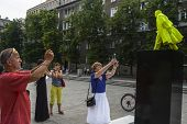NOWA HUTA, POLAND - JUNE 11, 2014: Fountain of the Future Project as part of the Artboom Krakow Fest