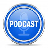 podcast blue glossy web icon