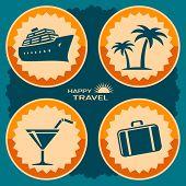 Travel poster design. Vector illustration in retro style