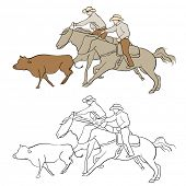 An image of cowboys herding cattle.