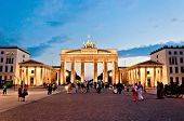 tourists in Brandenburg Gate - Berlin, Germany