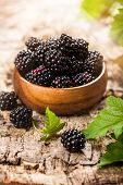 Blackberries in bowl on wooden background.