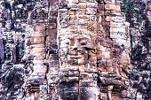 Siem Reap, Cambodia - May 3, 2014: Tourist travel Ba-yon Face At Angkor Thom.