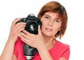 Senior woman photographer