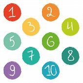 Set of ten colorful numerical circles