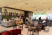 MOSCOW - MARCH 30: Starbucks cafe in Sheremetyevo airport on March 30, 2014 in Moscow. Starbucks Cor