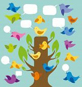 card with birds and speech bubbles and tree