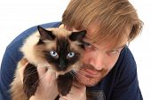 Man And Ragdoll Cat