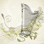 picture of lyre-flower  - sketch  harp on a beige floral background - JPG