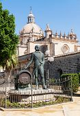 Statue Of Tio Pepe Near Cathedral In Jerez De La Frontera, Spain