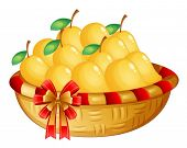 Illustration of a basket of ripe mangoes on a white background