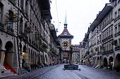 The Medieval Zytglogge Clock Tower And Zahringer Fountain In Bern, Switzerland