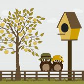 Cute Owls On A Fence With Birdhouse And Apple Tree