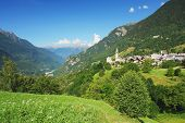 foto of engadine  - View of the Soglio and Bregaglia valley in the Switzerland - JPG