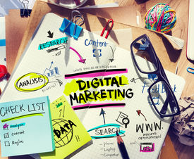 picture of combinations  - Office Desk with Tools and Notes About Digital Marketing - JPG