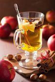 glass of mulled apple cider with orange and spices, winter drink