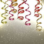 Colorful confetti and ribbons. Holiday background with stars