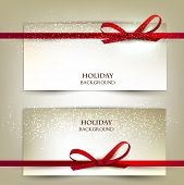 Set of two elegant gift cards with red ribbons.Vector illustration.