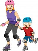 Illustration Featuring a Mom Teaching His Son to Inline Skate