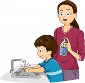 Illustration Featuring a Boy Washing His Hands While His Mother Watches