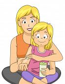 Illustration Featuring a Mother Giving Skin Care Lessons to Her Daughter