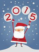 Vector 2015 Happy New Year background . Cartoon santa claus and numbers.