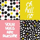 Funny trendy colorful hand lettering typography awesome hugs and abstract organic paint background pattern set in vector