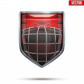 Bright shield in the ice hockey helmet inside. Vector.