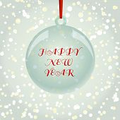 Christmas New year Greeting Card With Ball On Snowflakes Background