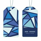 Vector abstract ice chrystals vertical stripe frame pattern tags set