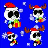 sweet xmas panda baby cartoon set