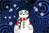 snow man cartoon xmas background5
