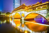 Chengdu, Sichuan, China at Anshun Bridge over the Jin River.