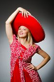 Woman wearing nice red sombrero