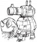 War Tank Turtle Sketch Vector Illustration Art