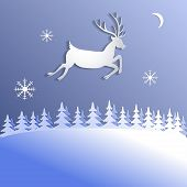 Abstract  Background With Paper Cut Deer.