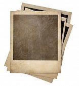 polaroid retro photo frames stack isolated on white